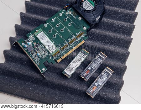 Paris, France - Dec 20, 2020: New Dell Ultra Speed Drive Quad Nvme M2 Disk With Multiple Nvme Disks