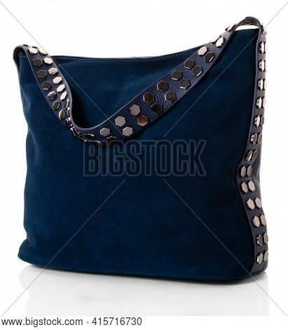 Bag For Women With A Wide Shoulder Strap. The Model Is Made Of Natural Dark Blue Suede. The Strap Is
