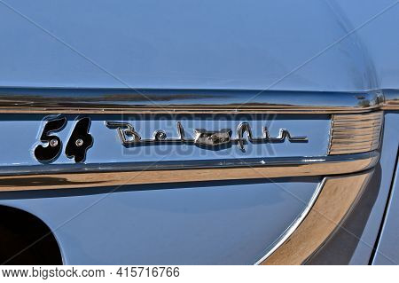 Maricopa, Arizona, March 26, 2021: The Old Belair Logo Is On A 1954 Chevrolet, Colloquially Referred