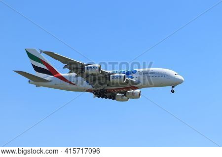 Amsterdam, The Netherlands - August, 7th 2020: A6-evh Emirates Airbus A380 Final Approach To Polderb