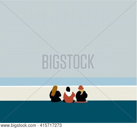 Happy People Sits On Background Of Empty Beach During Their Vacation In An Idyllic Nature Scene Dest