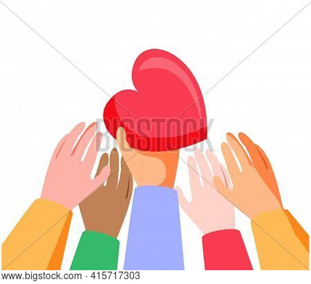 Heart Holding By Diverse Hands. Vector Illustration Concept For Sharing Love, Helping Others, Charit