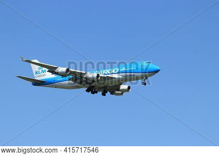 Amsterdam, The Netherlands - August, 7th 2020: Ph-ckc Klm Royal Dutch Airlines Boeing 747-406f Final