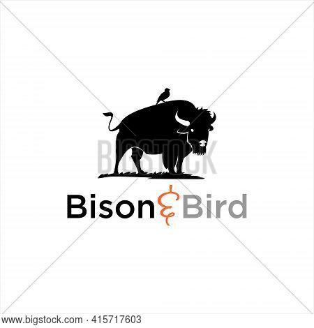 Bison Silhouette Logo Wild American Buffalo Animal Vector Graphic Design Element Ideas