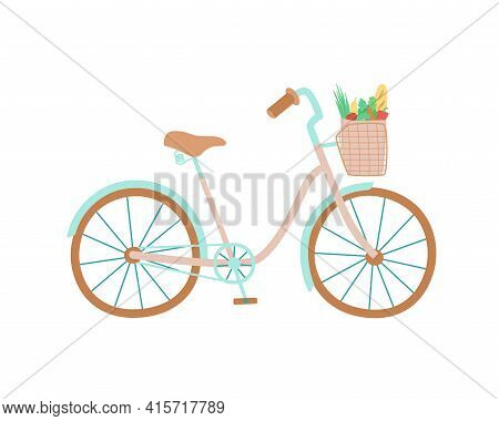 Cute Women S Bike With A Low Frame And Basket In Front. Paper Bag With Vegetables And Herbs. Vector