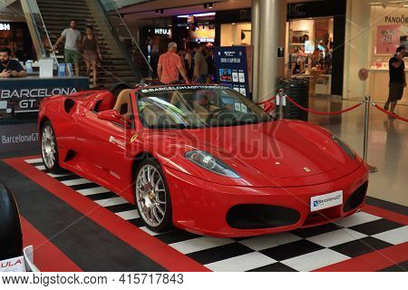 Barcelona, Spain - September 29th 2019: A Ferrari 430 F1 Spider In Maremagnum Shopping Mall