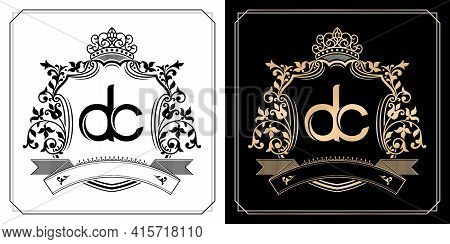 Dc Royal Emblem With Crown, Initial Letter And Graphic Name Frames Border Of Floral Designs With Two