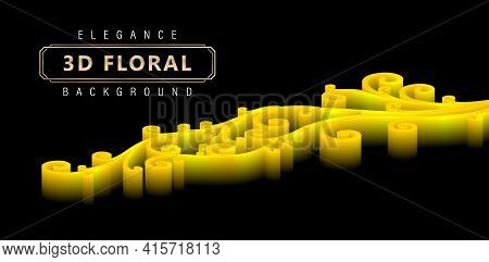 Elegance 3d Floral Backgrounds With Gradients Yellow And Isolated Black Backgrounds, Three Dimension