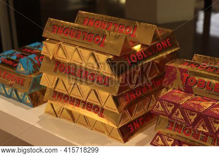 Barcelona El Prat Airport, Spain - September 24th 2019: Toblerone Chocolate, Promotional Display In