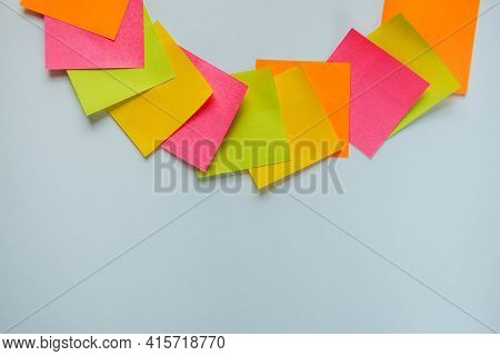 Colorful Sticky Notes On White. Business Concept