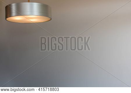 Glowing Modern Aluminum Led Lamp With White Wall. Free Space For Text Or Design. Space For Text