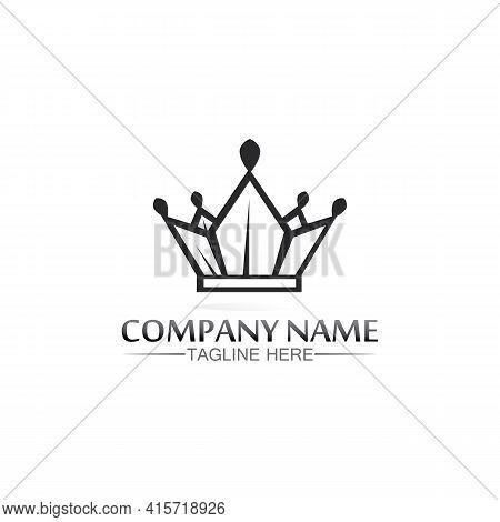 Crown Logo Template Vector Icon Illustration Design, Vector Icon Crown, King, Queen, Logo Design For