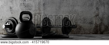 Fitness Gym Dumbbells And Kettlebells With Chrome Handle And Black Plates In Concrete Room Backgroun