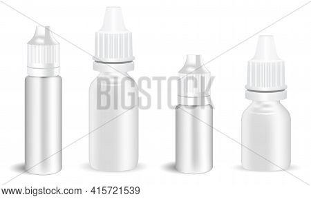 Eye Drop Bottle. E Juice Dropper, Atomizer Spray Mockup. Nose Allergy Dispenser Container Template,