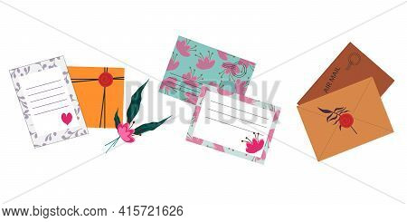 Multicolored Postal Envelopes With Flowers And Postcards. Decorative Postal Set For Congratulations.