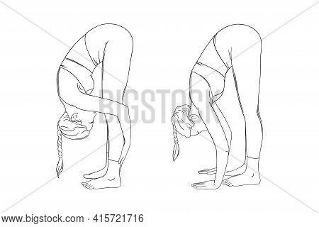 Stretching Yogi Woman. Hatha Yoga Forward Fold Pose Variations. Engraved Vector Illustration In Whit