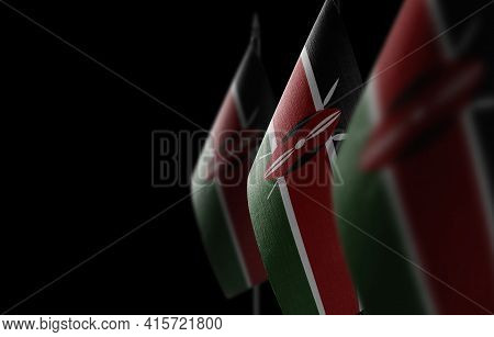 Small National Flags Of The Kenya On A Black Background