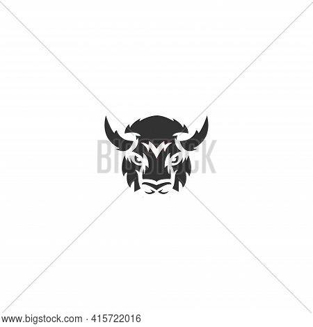Wild Bison Face Head Design Animal Vector