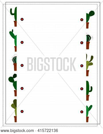 A Game For Kids, Find The Right Half Of The Cactus. Connect The Two Halves. Vector Isolated On A Whi