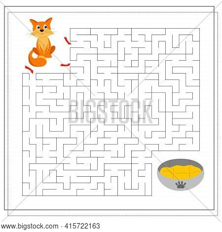 A Maze Game For Kids. Guide The Cat Through The Maze To The Bed. Vector Isolated On A White Backgrou