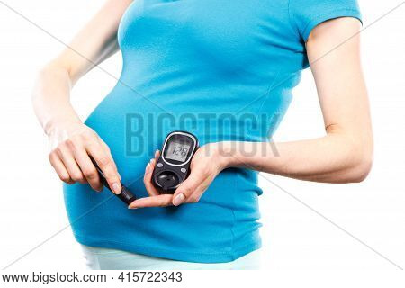 Pregnant Woman Holding Glucose Meter With Bad Result Of Sugar Level And Checking Sugar Level, Concep