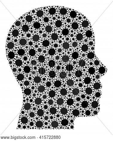 Vector Man Profile Covid Collage Icon Created For Health Care Purposes. Man Profile Mosaic Is Create