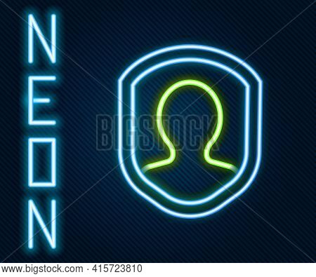 Glowing Neon Line User Protection Icon Isolated On Black Background. Secure User Login, Password Pro
