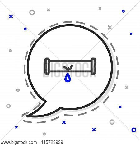 Line Broken Metal Pipe With Leaking Water Icon Isolated On White Background. Colorful Outline Concep