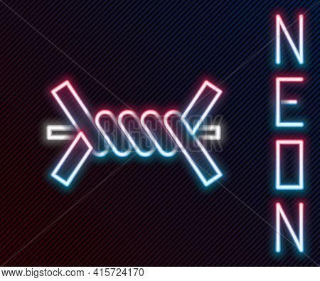 Glowing Neon Line Barbed Wire Icon Isolated On Black Background. Colorful Outline Concept. Vector Il