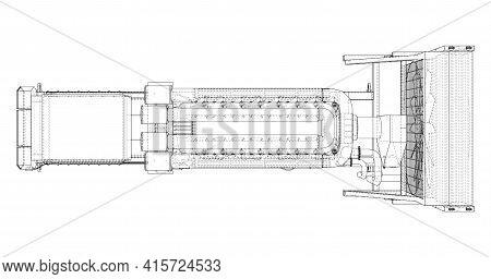 Large Industrial Diesel Generator. Generator, Diesel Engine And Cooling Radiator. Vector Rendering O