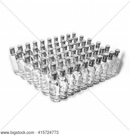 Sixty 60 Of Pure Alcohol Bottles Not Labeled. Bottles Of Home Alcoholic Beverages Isolated On White.