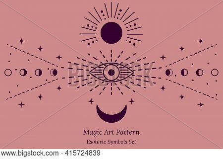 Esoteric Symbol Of Opening Of Third Eye Of Soul, Sun, Stars, Phases Of Moon. Illustration Of Magic S