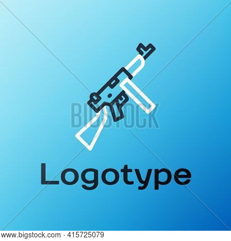 Line Thompson Tommy Submachine Gun Icon Isolated On Blue Background. American Submachine Gun. Colorf