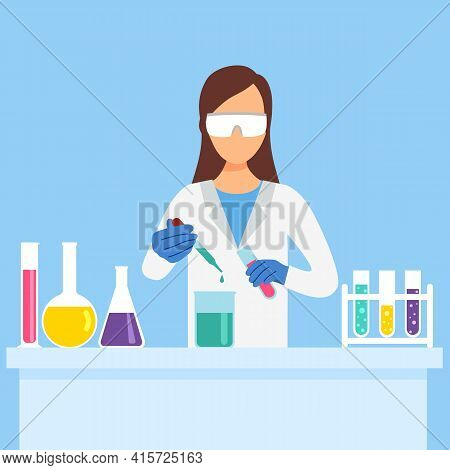 Woman Chemist Doing New Analytical Experiment Work In Laboratory. Scientist With Analytical Chemistr