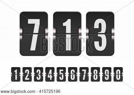 Set Of Black Flip Numbers On A Mechanical Scoreboard. Vector Template For Your Design.