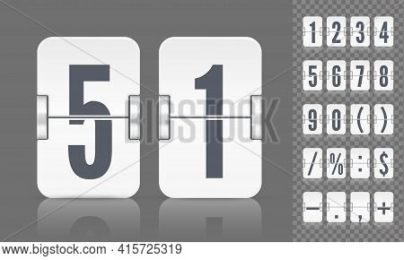 Vector Template For Time Design. Flip Scoreboard With Numbers Symbols And Reflections For White Coun
