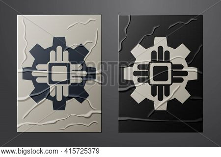 White Processor Icon Isolated On Crumpled Paper Background. Cpu, Central Processing Unit, Microchip,