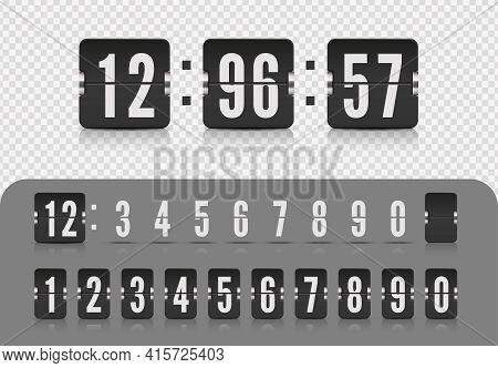 Vector Illustration Template. Scoreboard Number Font. Vintage Flip Clock Time Counter. Flip Countdow