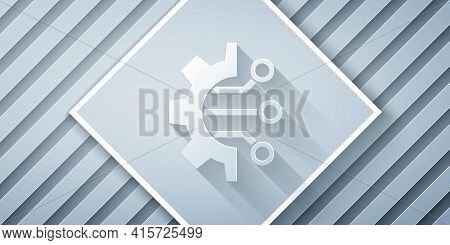 Paper Cut Algorithm Icon Isolated On Grey Background. Algorithm Symbol Design From Artificial Intell