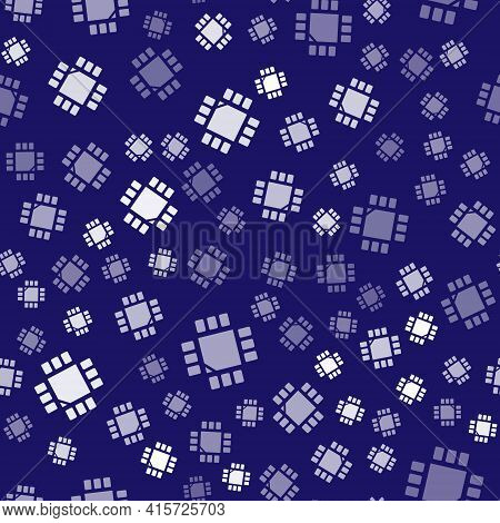 White Computer Processor With Microcircuits Cpu Icon Isolated Seamless Pattern On Blue Background. C