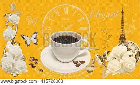 Fresh Hot Coffee In A White Cup On A Saucer. Roasted, Natural Coffee Beans Are Sprinkled On A Saucer