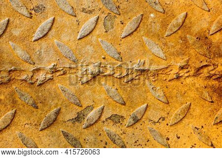 Rusty Weld Background. Metal Welding Seam Texture. Orange Rust Iron Sheet Pattern. Steel Grunge Weld