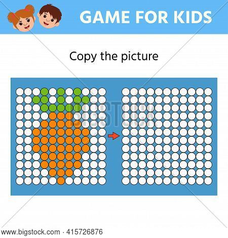 Education Logic Game For Preschool Kids. Copy The Picture. Carrot. Learning Symmetry For Preschool C