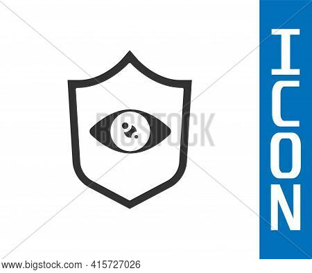 Grey Shield Eye Scan Icon Isolated On White Background. Scanning Eye. Security Check Symbol. Cyber E