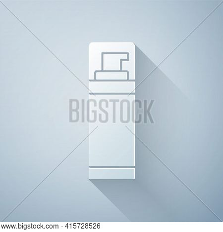 Paper Cut Shaving Gel Foam Icon Isolated On Grey Background. Shaving Cream. Paper Art Style. Vector