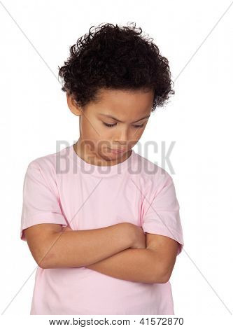 Angry latin child isolated on white background