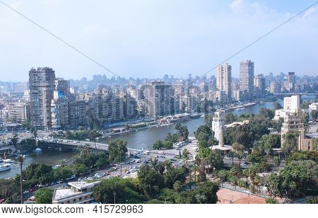 Cairo - October 25, 2008: Skyline and city overview of the capital city of Cairo Egypt, October 2008. Established in the 10th Century, Cairo is the largest city in North Africa.