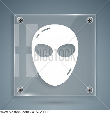 White Alien Icon Isolated On Grey Background. Extraterrestrial Alien Face Or Head Symbol. Square Gla