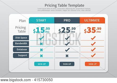 Pricing Table Template  With Three Plan Type - Start  Pro And Ultimate  Graphic Design On Gray Backg