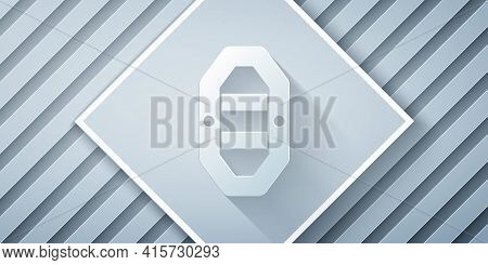 Paper Cut Rafting Boat Icon Isolated On Grey Background. Inflatable Boat With Paddles. Water Sports,